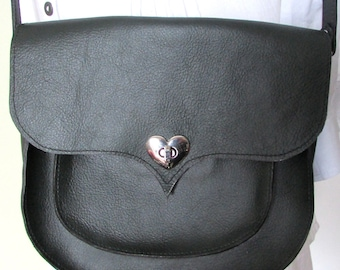 Dark green leather bag with heart shaped lock