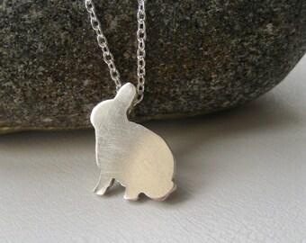 Bunny Necklace, Easter Kids Gift, Sterling Silver Rabbit Necklace, Pet Gift, Rabbit Jewelry, Bunny Jewelry, Gift For Girls, Gift For Women
