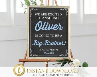 Pregnancy Reveal, Big Brother, Pregnancy Announcement, Baby Announcement, New Baby, Chalkboard Pregnancy Announcement, INSTANT DOWNLOAD