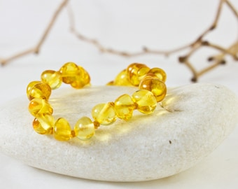 Baltic Amber Teething Anklet - Lemon Colour