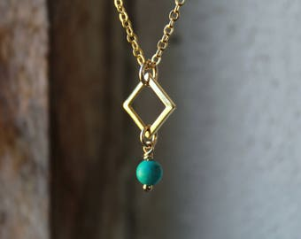 Gold Turquoise Necklace Dainty Gemstone Jewelry Genuine Turquoise jewelry semi precious necklace turquoise stone necklace gold filled