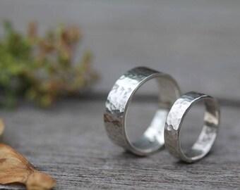 Personalised Hammered Wedding Rings