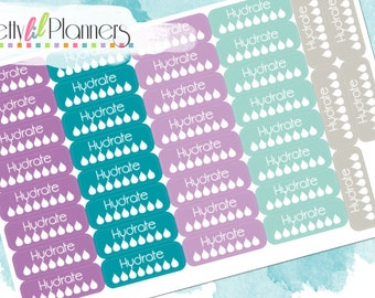 Hydrate Planner Stickers-Purples-Teals-Grey, Fitness Stickers Perfect for Erin Condren Planner, ECLP, Life Planner, Plum Paper Planner