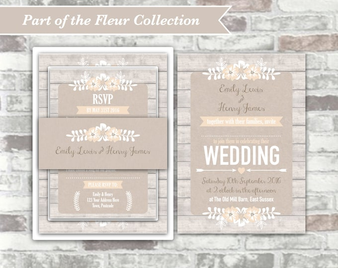 PRINTABLE Digital Files - Fleur Collection - Personalised Wedding Invitation Bundle Print Your Own DIY Rustic Wood Floral - White Natural