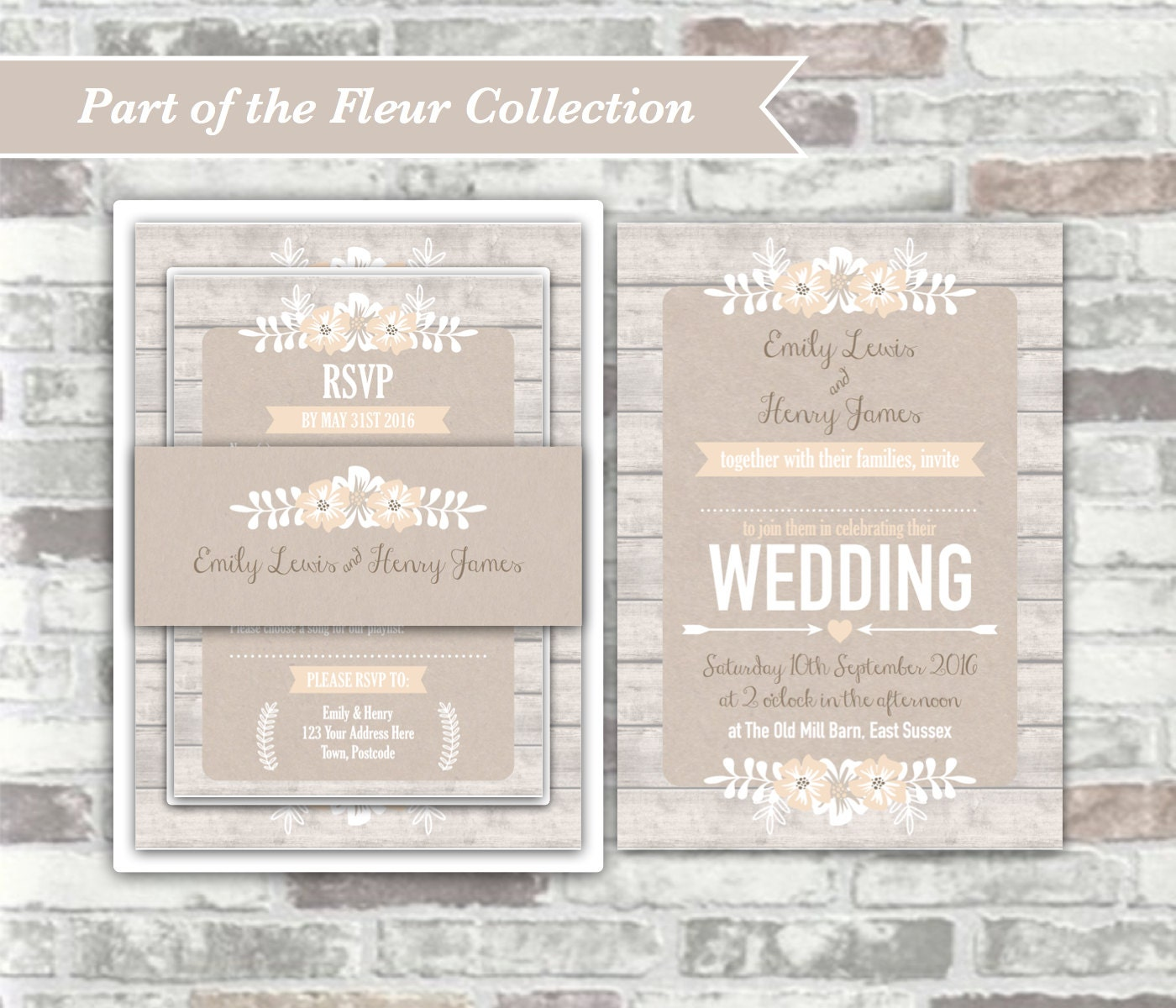 PRINTABLE Digital Files - Fleur Collection - Personalised Wedding ...
