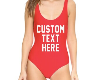 CUSTOM Black Red or White One Piece Swimsuit- Create Your Own Monokini Swimwear- Letters, Words, Fonts -You Pick- Custom Saying Onepiece