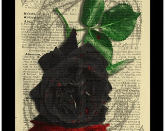 Bleeding Gothic Black Rose - Dictionary Print Book Page Art