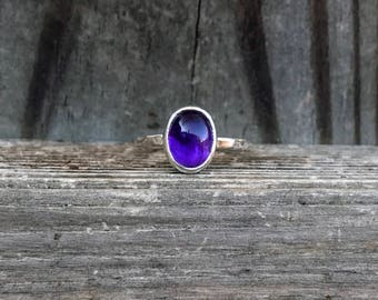 Amethyst Ring - Purple Ring - February Birthstone - Stacking Ring - Sterling Silver - Amethyst Jewelry - Gemstone Rings - Hammered Rings
