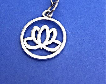 Lotus flower keychain, lotus flower charm, flower keychain, flower charm, friend keychain,lotus flower,lotus,zen, buddha, chakra, boho gifts