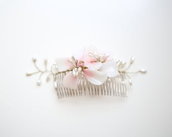 Handblown Glass & Pearl Bridal Comb- Pink