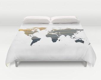 Ocean Texture Map Duvet Cover, Decorative bedding, World Map Bedding, bedroom blanket, Black White Bedding, Dorm Bedding, Modern, Dorm