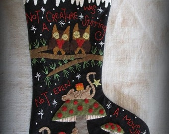 Not A Creature Was Stirring Christmas Stocking PRINTED PATTERN by cheswickcompany
