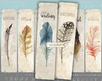 Love to Read - set of 6 bookmarks - digital collage - printable JPG file