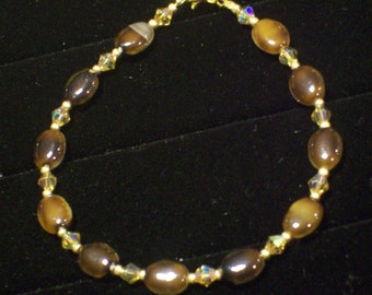 Brown Cat's Eye and Topaz Crystal Vintage Gold Tone Bracelet by hipknitta