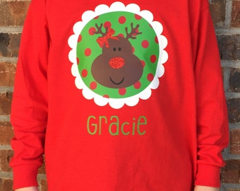 Christmas Long Sleeve Youth Girls Shirt with Circle Design, Reindeer, Glitter Nose and Bow, and Child's Name