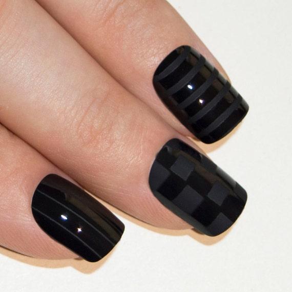 Bling Art False Nails French Manicure Black Matte Justice Medium ...