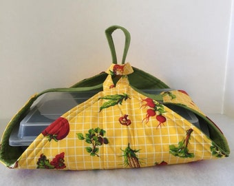 Thermal, Insulated, Casserole Carrier in Vegetable Prints