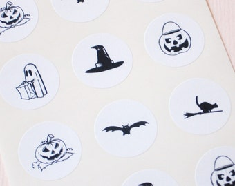 Halloween Stickers One Inch Round Seals