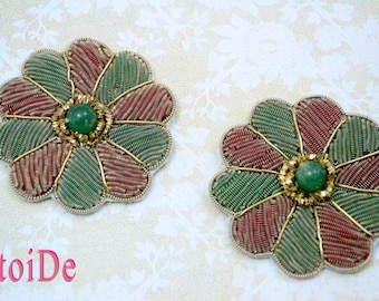 Flower applique patch - 2 Sew On  Beaded Applique - Green Red