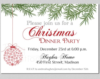 Christmas Dinner PRINTABLE Invitation Digital Printable Christmas Party Invitation