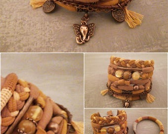 Ginger Bohemian Bracelet Gold Aventurine Gypsy Bracelet Hippie Style Multiple Strands Bracelet Boho Jewelry Elephant Head Charm