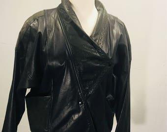 80s black leather New Wave Punk Rocker Chick oversized Avanti leaather jacket