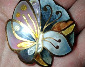 Vintage Butterfly Cloisonne Pin / Pendant signed