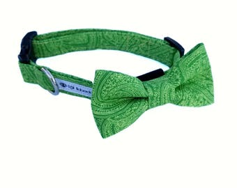 Dog Collar with Bow Tie/ Green Dog Collar with Bow/ Paisley Dog Collar with Bow Tie/ Green Paisley Dog Collar/ Gifts for Dogs/ Green Dog Bow
