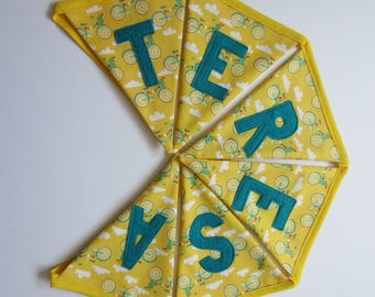 Yellow Bicycle Personalized Handmade Fabric Bunting Baby Children's Birthday Gift