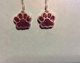 Purple glittery paw print  earrings   V54