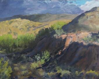 Spring Afternoon Storm & Light - Dixon, New Mexico - Original Oil Plein Air Landscape Painting