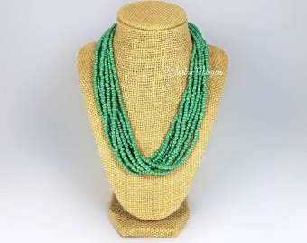 Necklace, multi strand necklace, green necklace, green beaded necklace, green multi strand necklace, mint green necklace, adjustable length