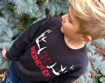 Kids-Toddler Christmas Sweatshirt Run Run Reindeer