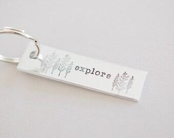 Explore Keychain - Wilderness Keychain - Forest Tree Keychain - Hand stamped Key Chain Accessory