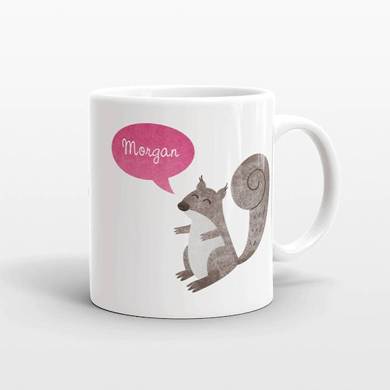Custom Name Coffee Mug Squirrel Gift Idea for Women Men Her Him Mom Dad Adult Kid Squirrel Lover Best Friend Birthday Teacher Personalized
