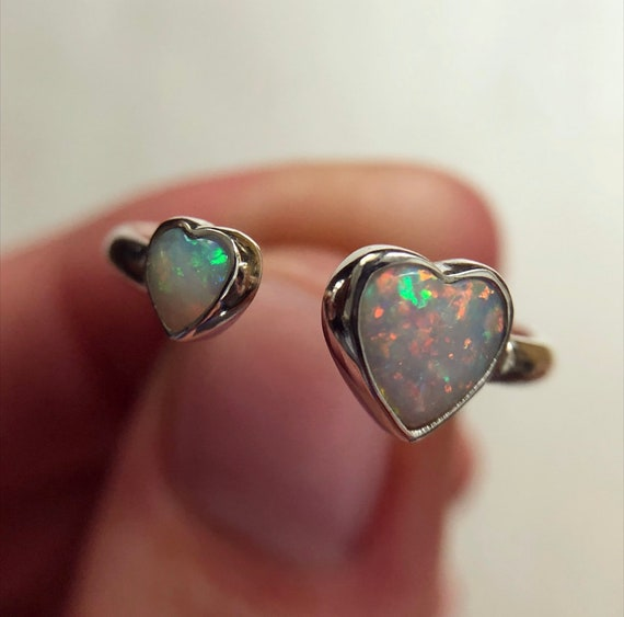 "Sterling silver ""Aria"" ring with Australian opal hearts SZ 7.5"