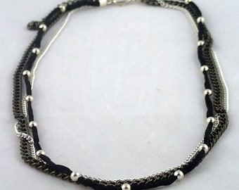 """Yardbeads Necklace in Silver - 18"""" silk cord and silver bead multichain necklace."""