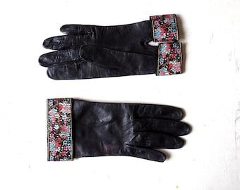 Vintage 1950s Gloves | Black Leather Gloves | Floral Cuffed Gloves