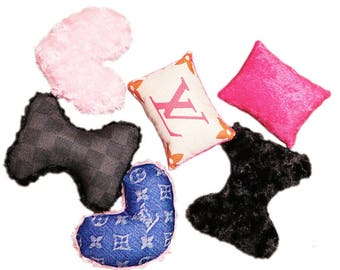 louis Vuitton inspired Pet Small Dog Toys Teacup Toys Pink Black, Pet Bed