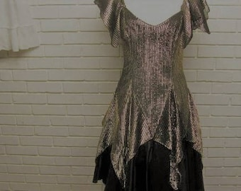 80's Gold & Black Lame Prom Dress with Hankerchief Hem sz 6