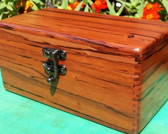 In Stock, Essential oil box made of Exotic hardwood. Holds 18 bottles 15oz Young Living size.