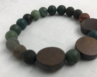 Green Jasper Bracelet, Wood Bracelet, Beaded Bracelet, Wood Coin, Frosted, (8mm)