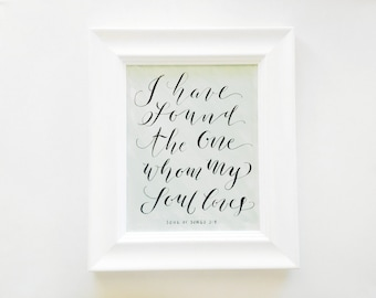 "Hand Painted + Hand Lettered 8x10 Print ""I Have Found the One..."" - FRAMED"