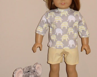 """Handmade Doll Clothes fits/for 18 inch American Girl Doll ~ """"Elephant Parade"""" Gray, Yellow and White Elephant Print Shorts, Shirt & Hat Set"""