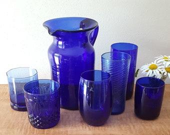 Cobalt Blue Glass Pitcher and Set of Six Cobalt Blue Glasses and Pitcher Set