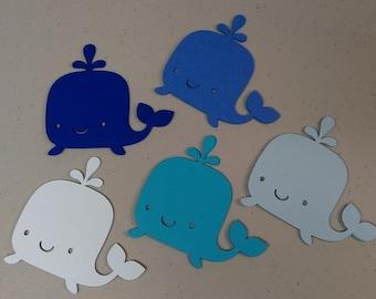 Ballena troquelado formas, recortes de la ballena, 5 tonos de azul, bajo el mar de los pescados