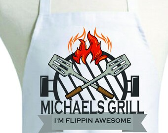 Personalized Flippin Awesome Apron, Personalized Dads Apron, Personalized Apron