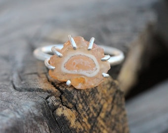 Peach Colored Rough Fire Opal Silver Ring Pale Orange Unique Statement Design Summer Boho Gift Idea Her Prong Set Freeform - Jelly Amoeba