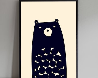 Woodland Bear Nursery Kids Art Print