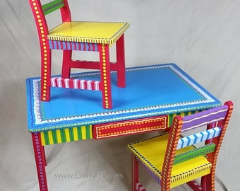 Child's Table and Two Chairs Set- Custom Hand Painted Furniture Made to order